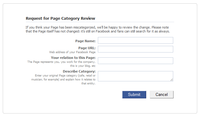 Facebook Mis-categorization of pages