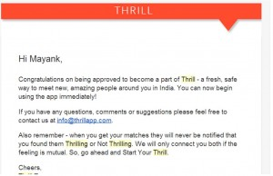 Thrill Approval Email