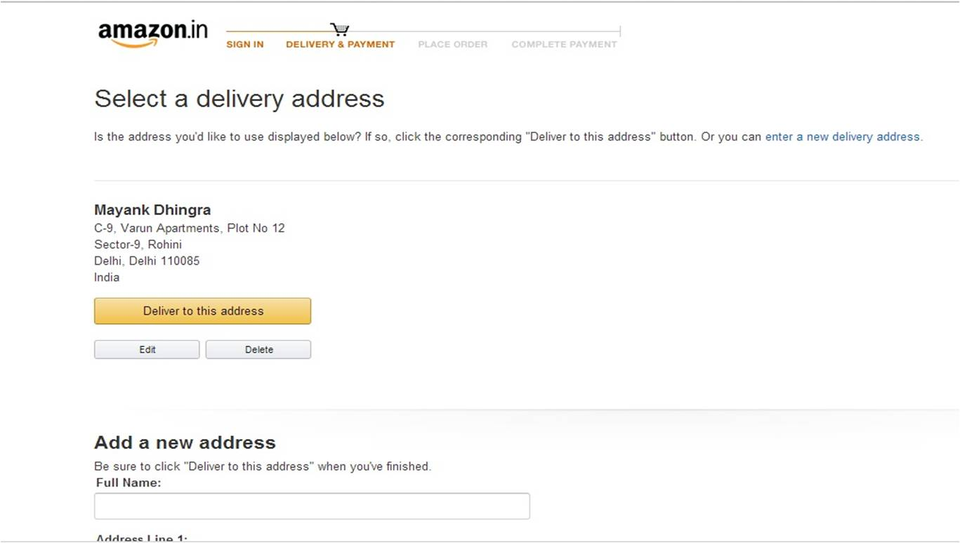 Delivery Address - Amazon.in