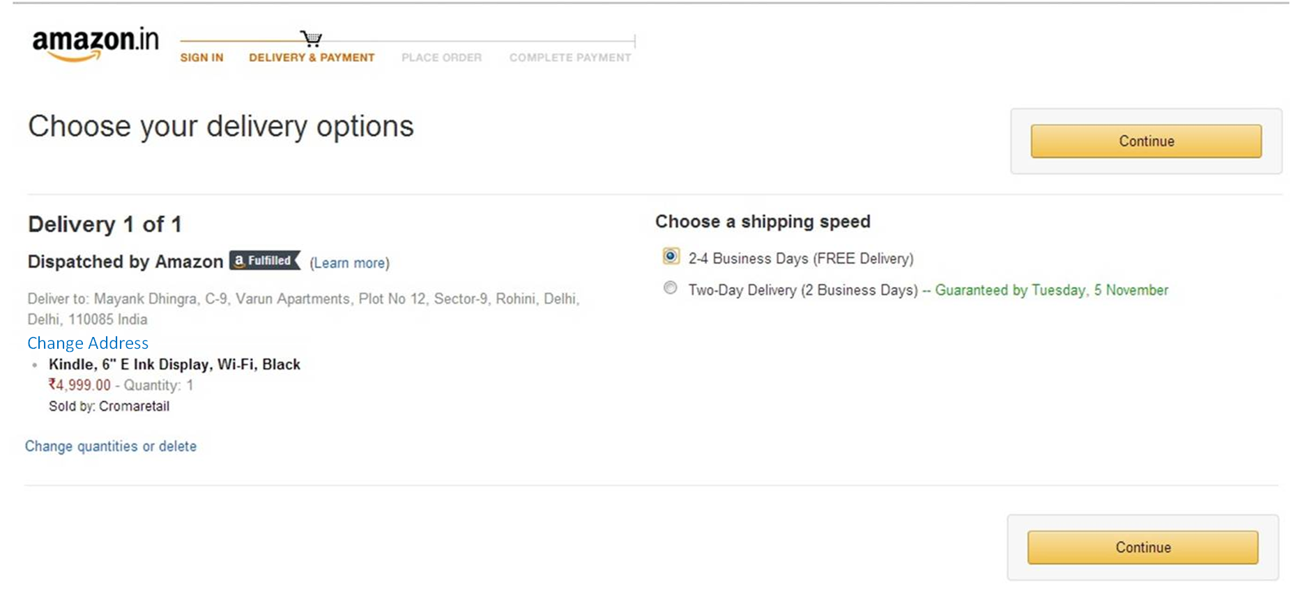 Delivery Address and Options Page - Amazon.in